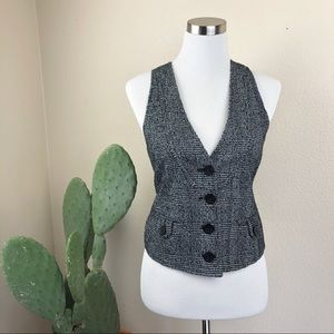 •MICHAEL KORS• Black & White Fitted Tweed Vest
